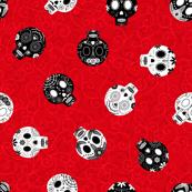 Scrolled Sugar Skulls Red Black White