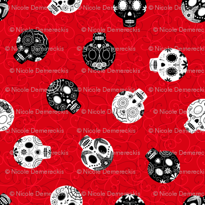Scrolled Sugar Skulls Red Black White