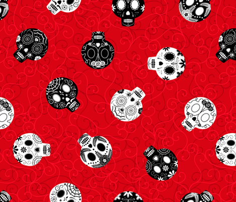 Scrolled Sugar Skulls Red Black White fabric by wickedrefined on Spoonflower - custom fabric