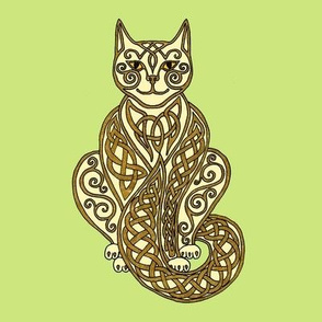 Celtic Cat 7 cream gold