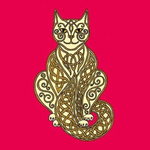 Celtic Cat 7 Cream Gold Red