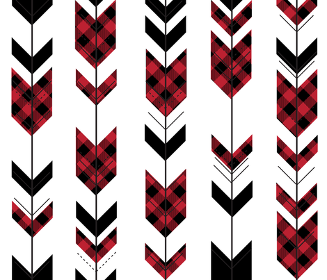 fletching arrows buffalo plaid || the happy camper collection fabric by littlearrowdesign on Spoonflower - custom fabric