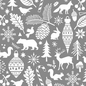 Woodland Forest Christmas Doodle with Deer,Bear,Snowflakes,Trees, Pinecone in Grey
