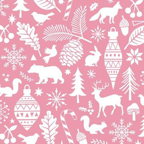 Woodland Forest Christmas Doodle with Deer,Bear,Snowflakes,Trees, Pinecone in Pink