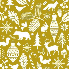 Woodland Forest Christmas Doodle with Deer,Bear,Snowflakes,Trees, Pinecone in Gold Yellow