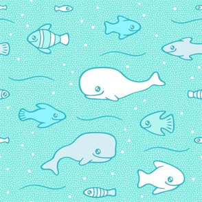 Whales and fish in a dotted sea