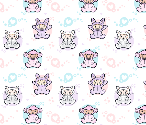 Baby Girls in Onesies fabric by nossisel on Spoonflower - custom fabric
