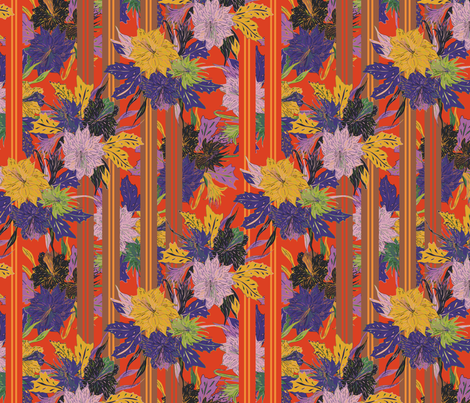 Floral Stripe fabric by lottibrown on Spoonflower - custom fabric