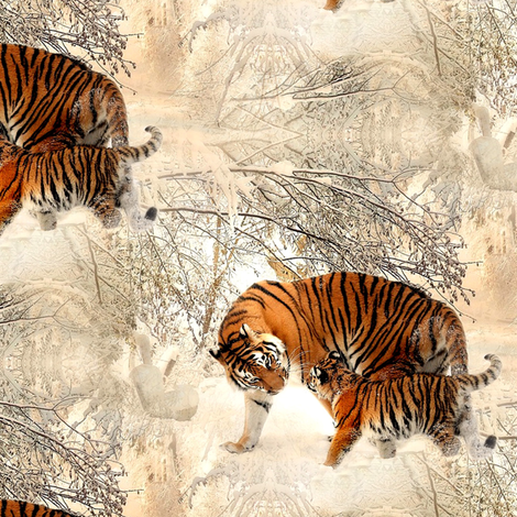tiger in the snow fabric by stofftoy on Spoonflower - custom fabric