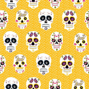 Sugar Skulls in  deep yellow