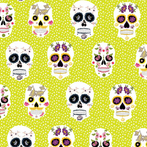 sugar skulls in  lime green