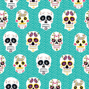 Sugar Skulls in teal