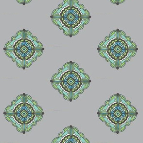 Grey mint diagonal tile