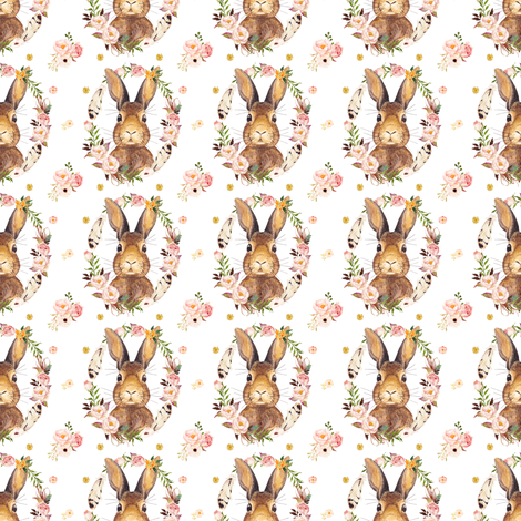 """Some Bunny Loves Me - 2"""" White fabric by shopcabin on Spoonflower - custom fabric"""