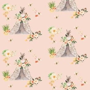 Floral Aztec Teepee in Peach 3""