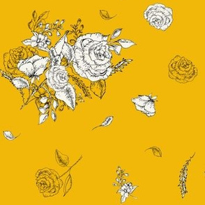 Black and White Roses - Yellow