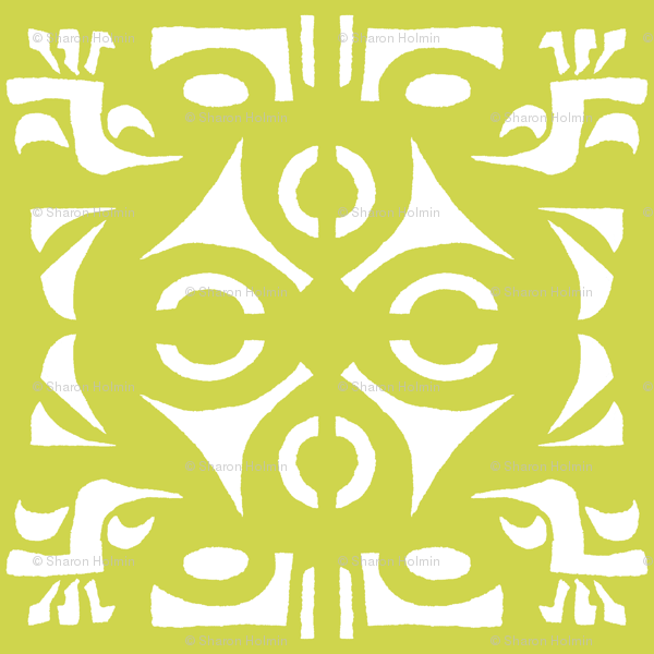 TRIBAL HORNS Chartreuse & White wallpaper - shi_designs