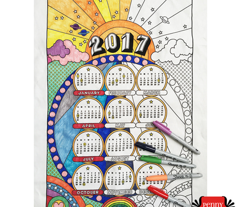 2017 Color-Your-Own Tea Towel Calendar