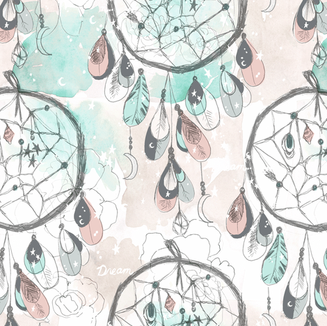 Starry_Dream_Catcher fabric by crystal_walen on Spoonflower - custom fabric