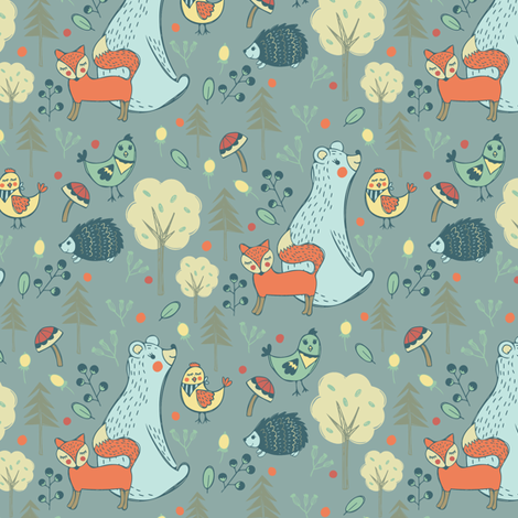 Bear and Friends in Blue fabric by jacquelinehurd on Spoonflower - custom fabric