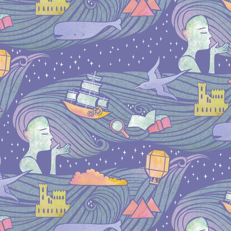 A Wish to Build a Dream On - Lilac fabric by ceciliamok on Spoonflower - custom fabric
