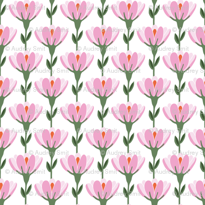 Vine floral in pink and white