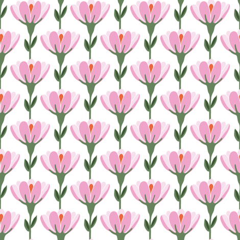 Vine floral in pink and white fabric by thislittlestreet on Spoonflower - custom fabric