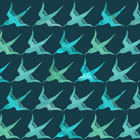Seabird Dreaming - Blue fabric by ceciliamok on Spoonflower - custom fabric