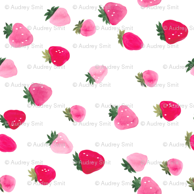 Watercolor strawberries - sideways