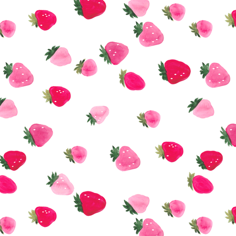 Watercolor strawberries - sideways fabric by thislittlestreet on Spoonflower - custom fabric