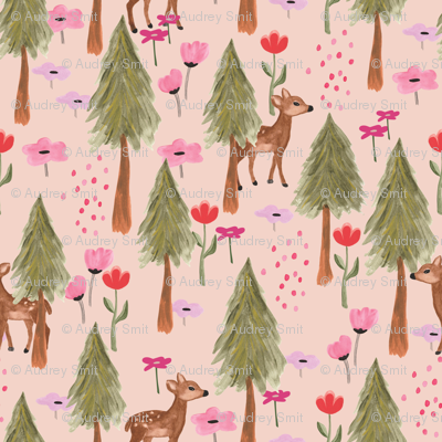 Deer in the forest in pink