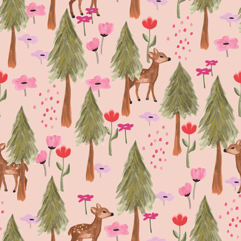 Deer in the forest in pink fabric by thislittlestreet on Spoonflower - custom fabric