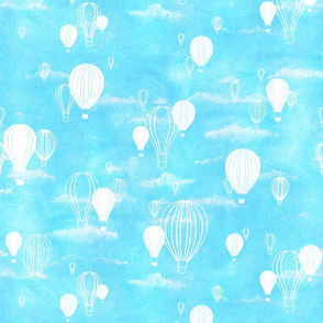 Sky's the Limit: Hot Air Balloons on Blue Sky