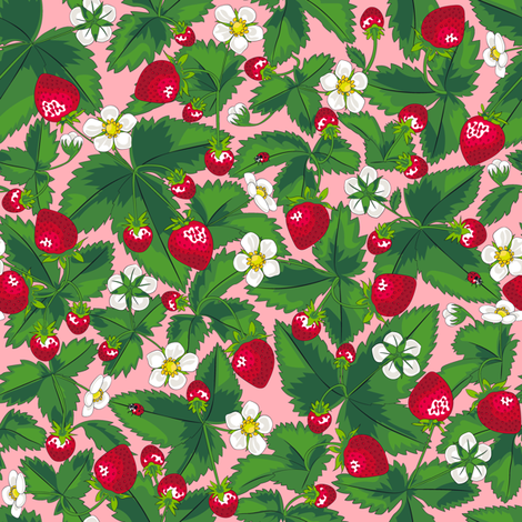 Strawberry field of joy *Pink fabric by juliesfabrics on Spoonflower - custom fabric