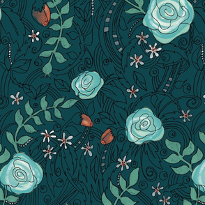 Flowers and Lines - Teal-ed