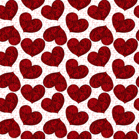 Red doodle hearts fabric by magic_pencil on Spoonflower - custom fabric