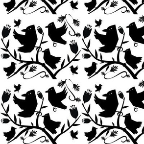 Crow Cutouts in a Black and White Pattern