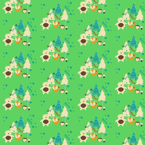 Cute woodland animals green