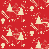 Christmas woodland red