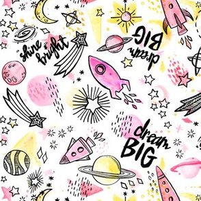 Dream Big & Shine Bright - Pink and Yellow Watercolor on White