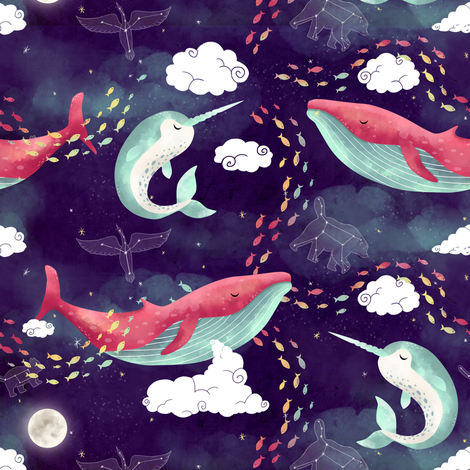 Dream Whales fabric by littleknids on Spoonflower - custom fabric