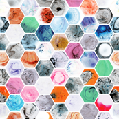 Various Marbled Hexagons