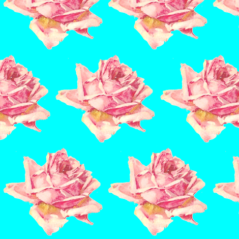 Single Rose Pink on Aqua fabric by parisbebe on Spoonflower - custom fabric