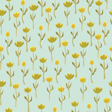 Up North floral flowers in pastel green fabric by thislittlestreet on Spoonflower - custom fabric