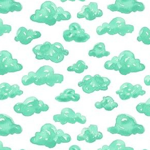 Watercolor Teal Clouds