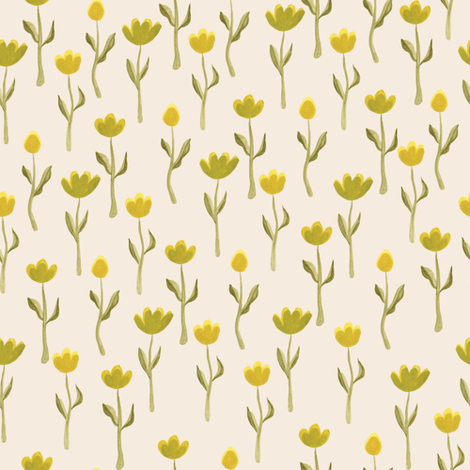 Up North floral flowers in cream fabric by thislittlestreet on Spoonflower - custom fabric