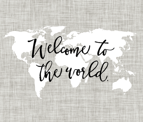 Welcome To The World Baby Blanket // Linen Background Pantone 169-1 fabric by ivieclothco on Spoonflower - custom fabric