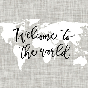 Welcome To The World Baby Blanket // Linen Background Pantone 169-1
