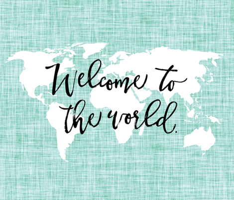Welcome To The World Baby Blanket // Aqua Linen giftwrap ...