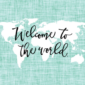 Welcome To The World Baby Blanket // Aqua Linen